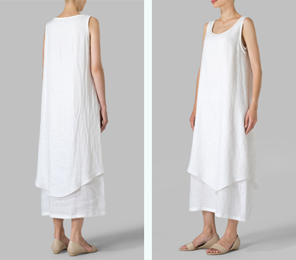 White Linen Double Layered Long Dress