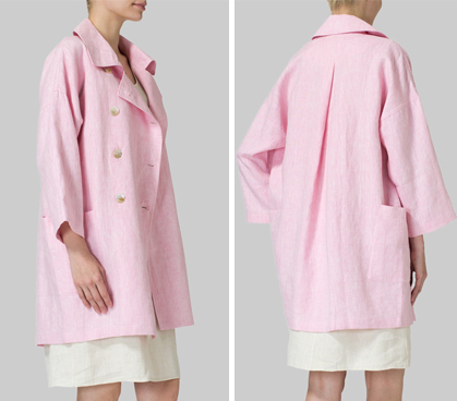 Pink Linen Double Breasted Jacket