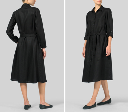 Black Linen Long-Sleeve Waist-Tie Dress