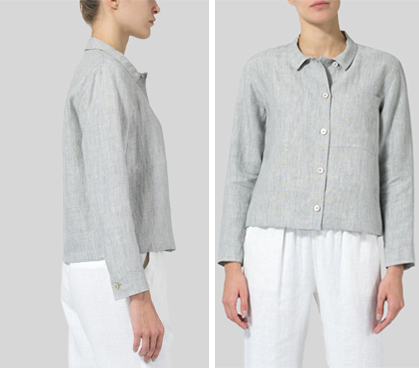 Light Gray Linen Cropped Shirt Jacket with Pockets