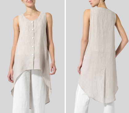 Two Tone Beige Linen Asymmetrical Hem Tail Top
