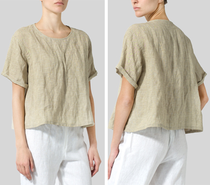 Khaki Crumpled Linen Box Top