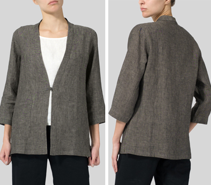 Linen Handmade Knot Button Tapered Jacket