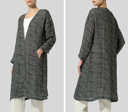 Charcoal Blend Stripe Linen Blend Stripe Long Jacket