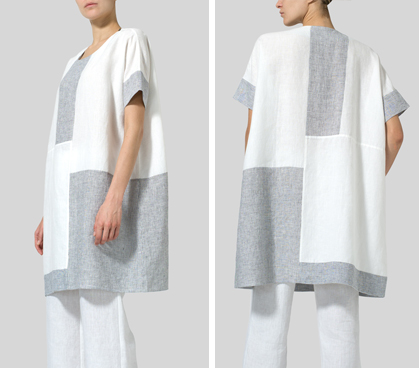 White Linen Oversize Patchwork Tunic