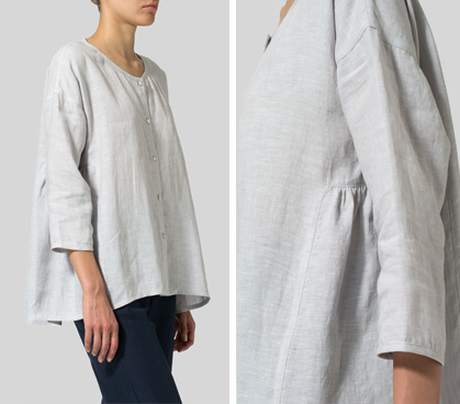 Warm Gray Linen Flare Blouse Set