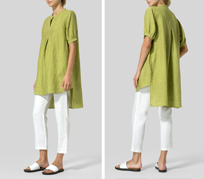 Lime Olive Green Linen Mandarin Collar A Shape Blouse