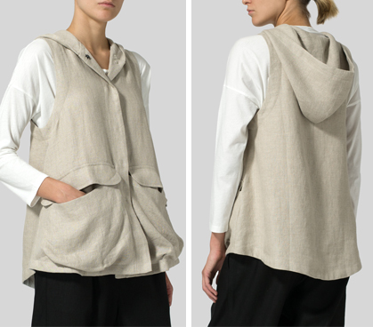 Oat Linen Hooded Vest Set