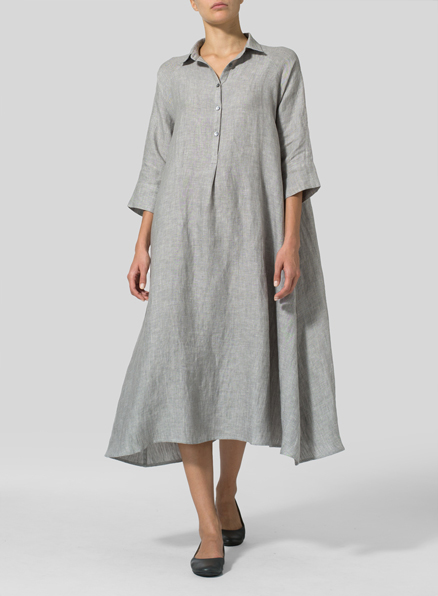 Two Tone Light Gray Linen A line Shirt Dress