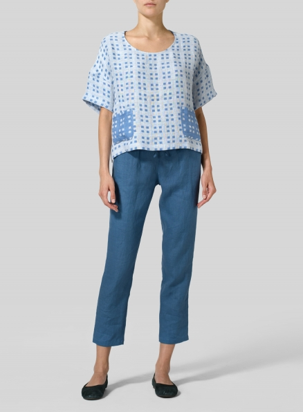 White Blue Checked Layered Linen Half Sleeve Top