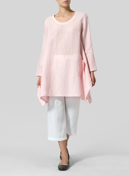 Baby Pink Linen Long Sleeve Top