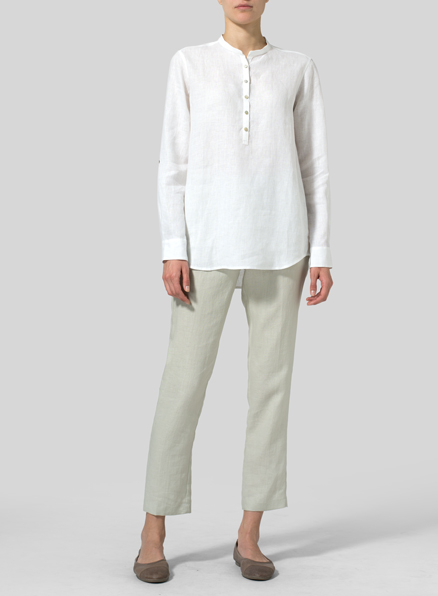 White Linen Mandarin Collar Shirt
