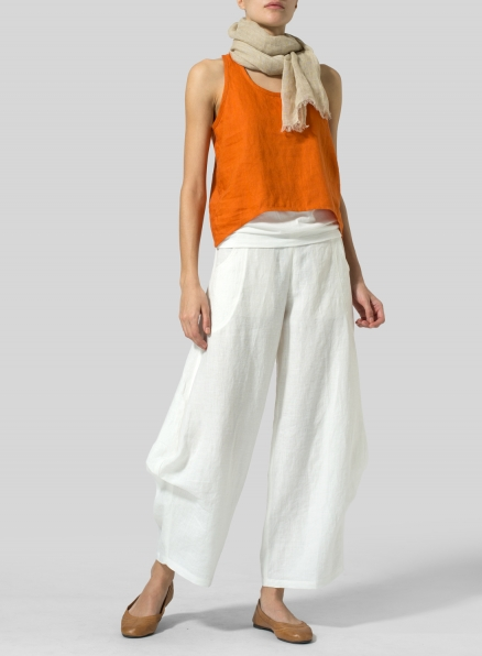 Orange Linen Cropped Tank Top Set