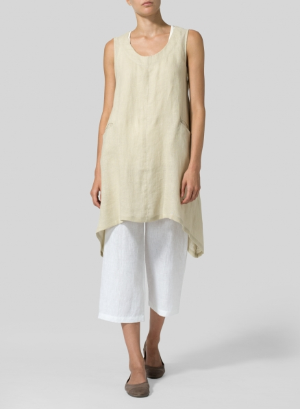Beige Linen High-Low Extra Long Tunic