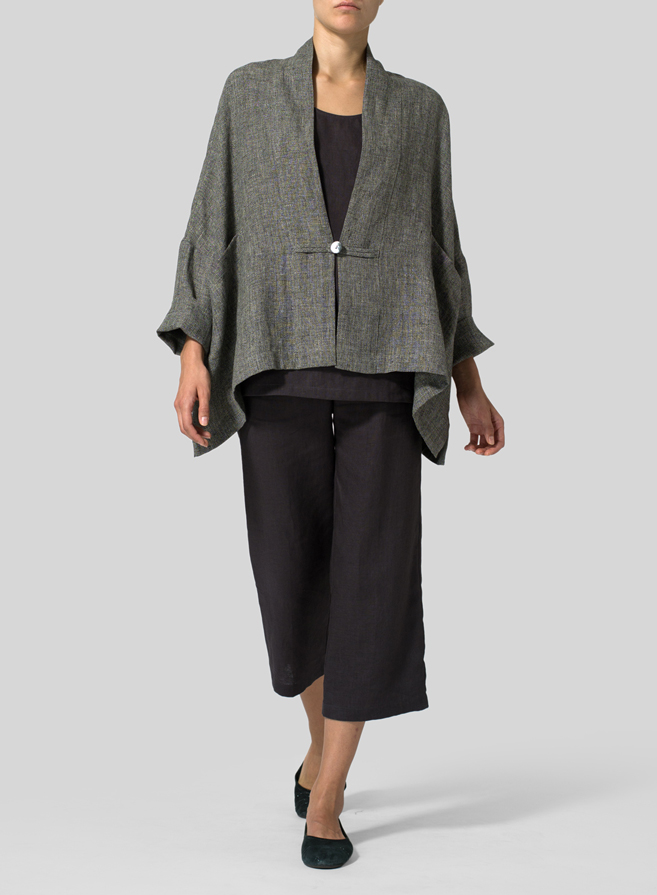 Black Peral Granite Yarn-dyed Linen Kimono Jacket