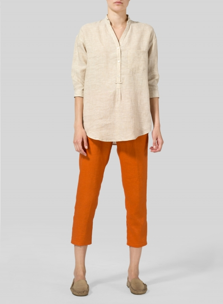 Sand Linen Blouse With V-neck Mandarin Collar Set