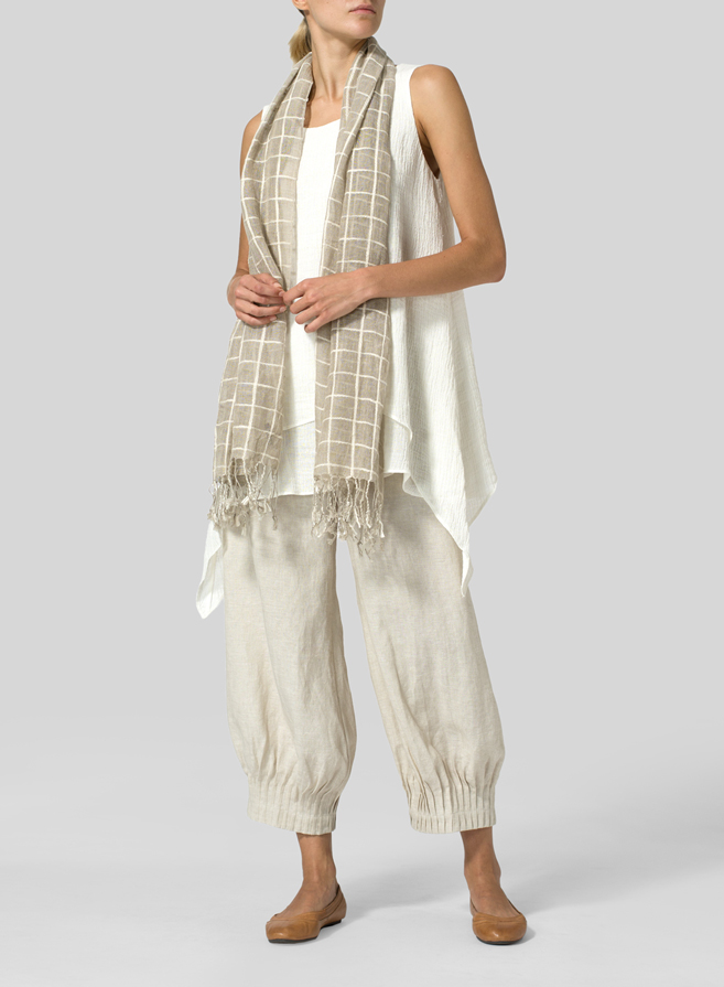 Linen Crinkle Gauze Sleeveless Layered Top with Scarf