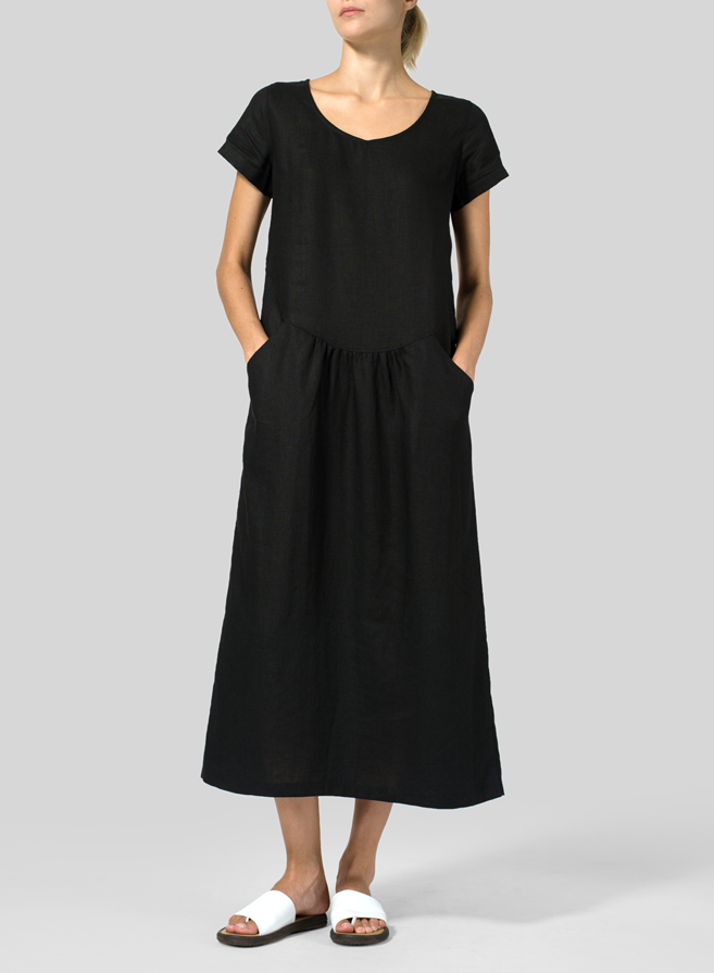 Black Linen Short Sleeve Midi Dress