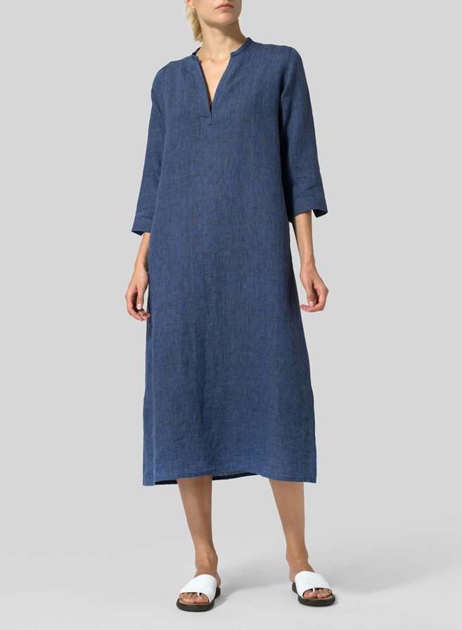 Cobalt Blue Light Linen V-neck Mandarin Collar Dress Tunic