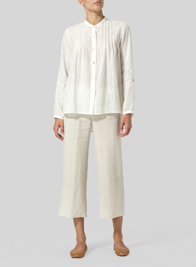 Off White Linen Mandarin Collar Shirt