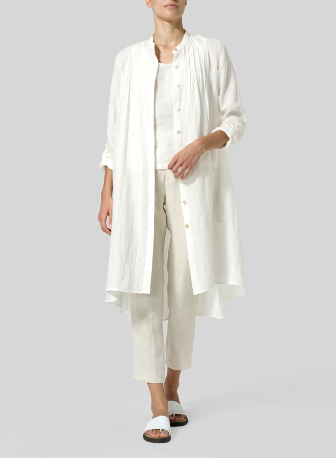 Off White Linen Mandarin Collar Shirt Dress