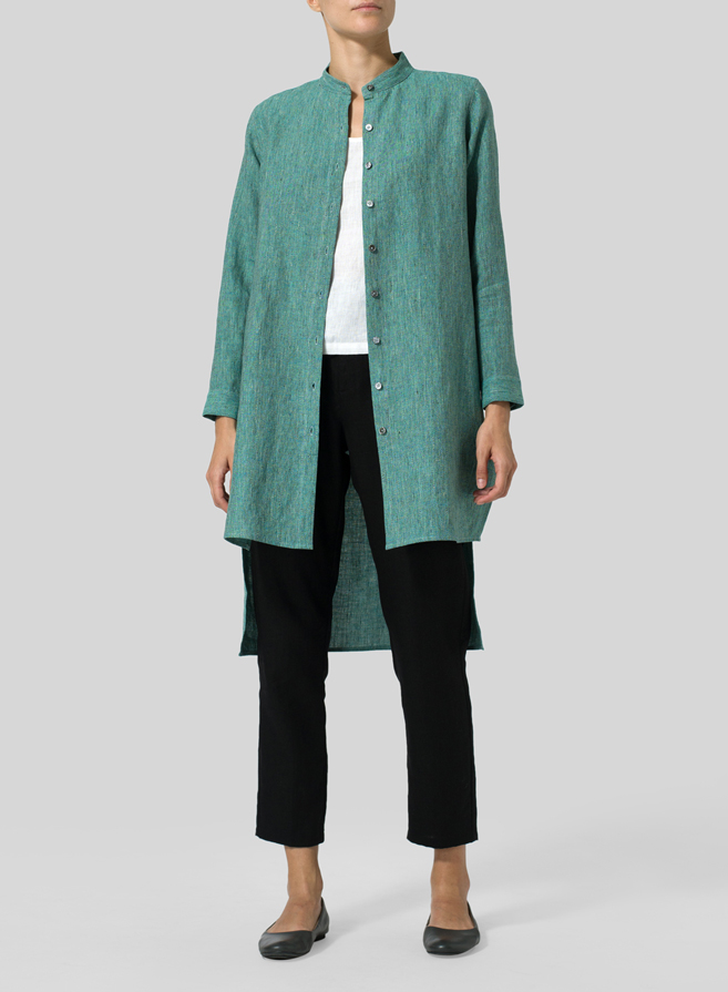 Linen Mandarin Collar High-Low Jacket Set