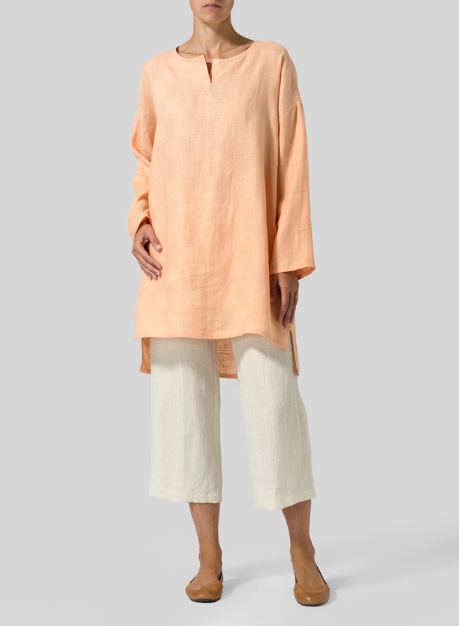 Pale Orange Jacquard Check Linen V-neck Tunic
