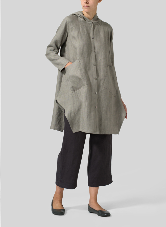 Gray Linen Hooded Shirt