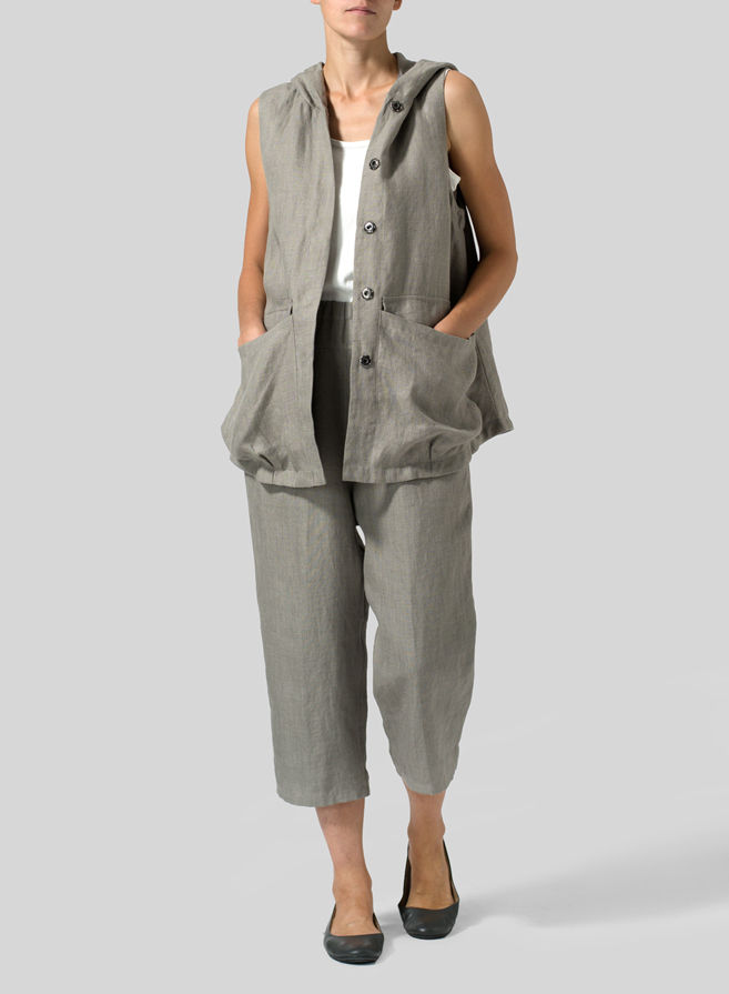 Gray Linen High Waisted Full Elastic Pants Set