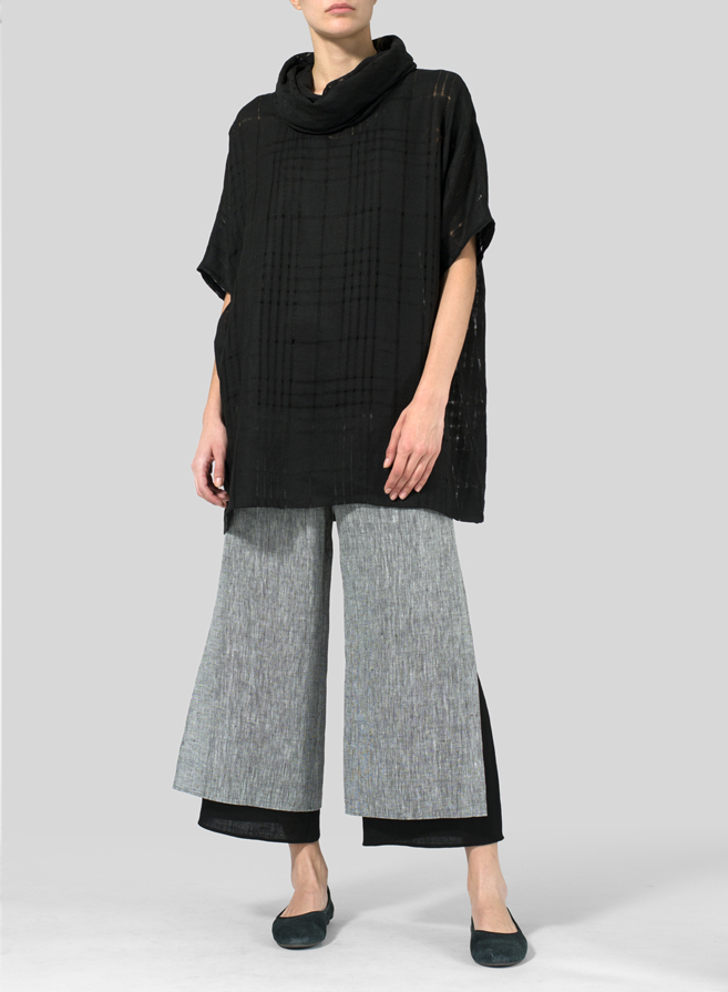 Black Plaid Sheer Linen Turtleneck Tunic