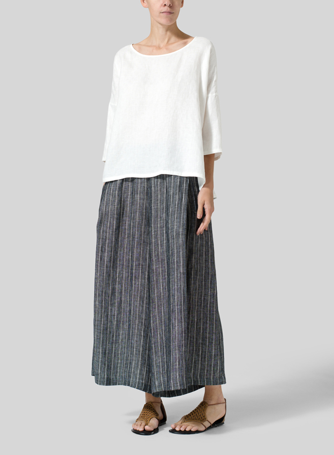 White Checker Jacquard Plaid Linen Dropped Shoulder Top
