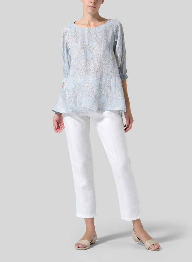 Blue Paisley Waves Linen Pleated Sleeve Top