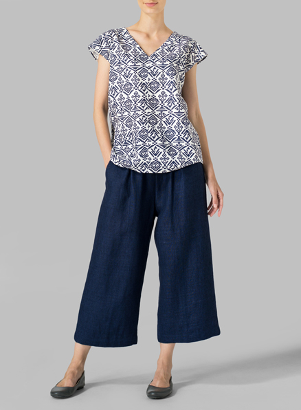 Navy/White Pattern Linen Perfect Cap Sleeve Top