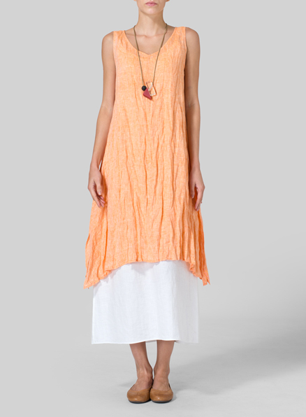 Orange White Linen Sleeveless Crumple Effect Long Blouse