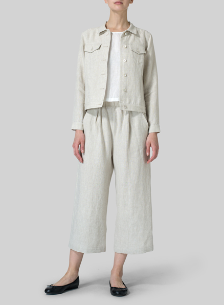 Light Khaki Linen Button Front Cropped Jacket