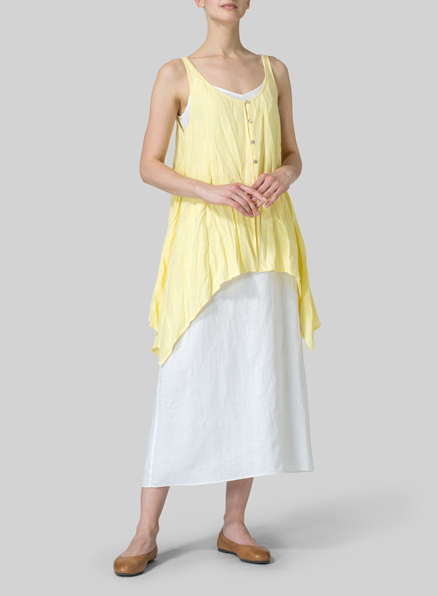 Ice Yellow Linen Handkerchief Sleeveless Top
