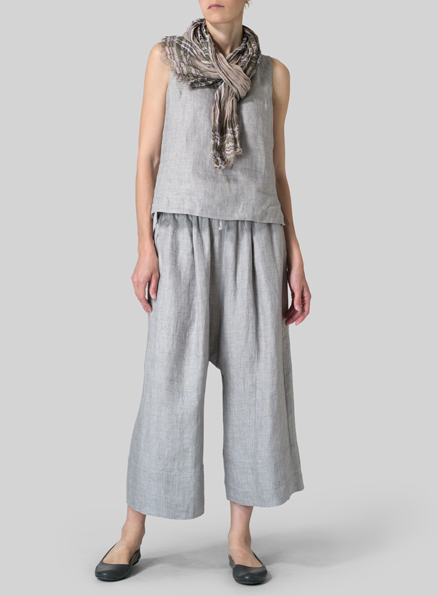 Linen Scoop Neck Tank With Scarf Set