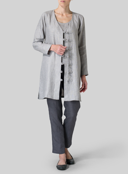 Gray Linen Handmade Knot Buttons Top