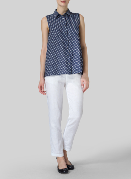 Navy Dot Light Weight Linen Sleeveless A-shape Top