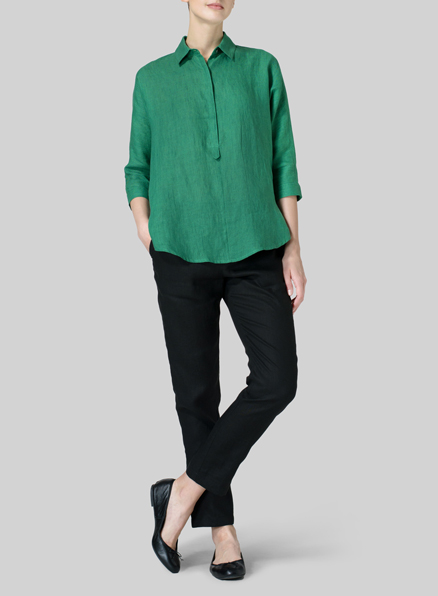 Green Linen Half-Button Tunic