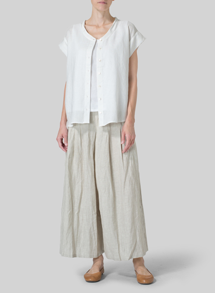 Off White Linen Button Front Cap Sleeve Top