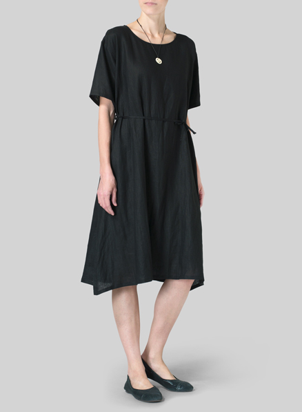 Black Linen Tie Waist Dress