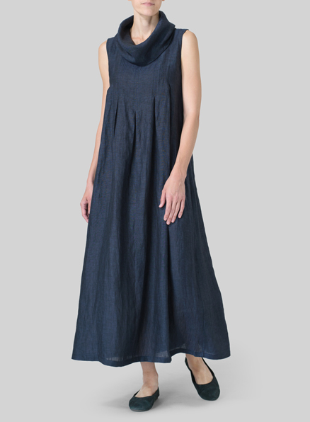 Denim Blue Linen Sleeveless Cowl Neck Long Dress