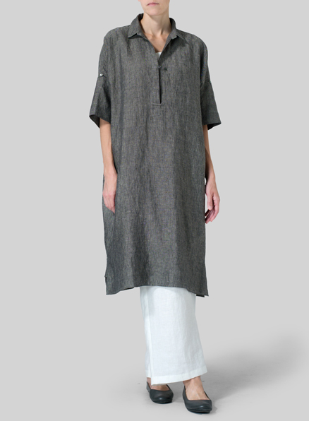 Linen Oversized Monk Dress Set