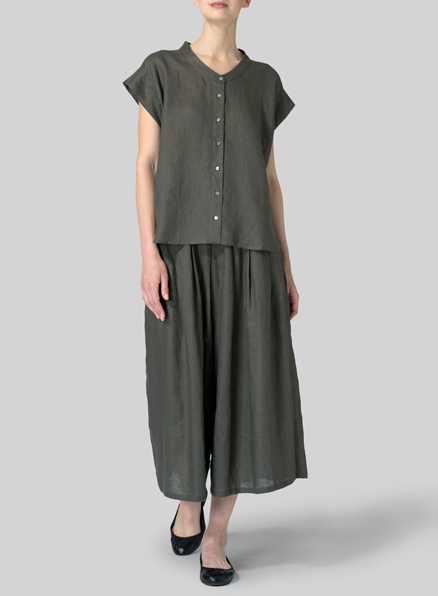 Olive Green Linen Button Front Cap Sleeve Top Set