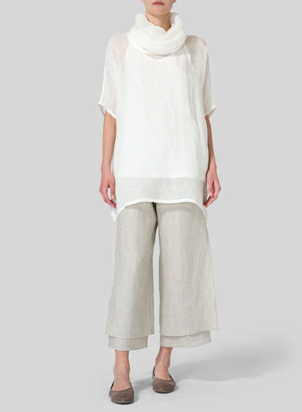 White Sheer Linen Turtleneck Tunic Set