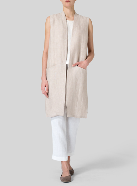 Light Beige Twill Weave Linen Long Vest