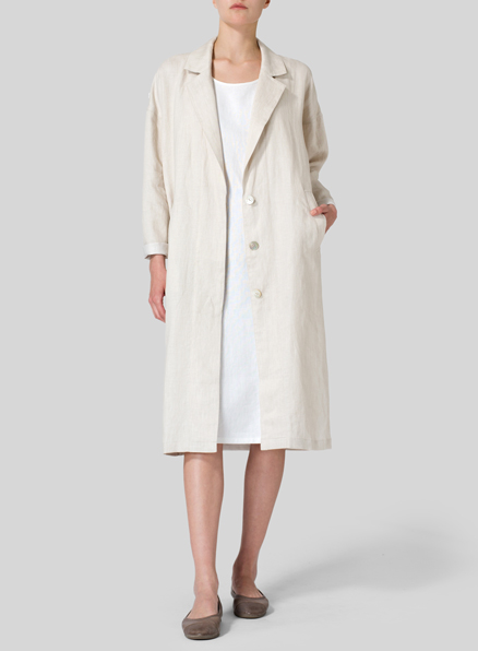 Twill Weave Linen Long Jacket