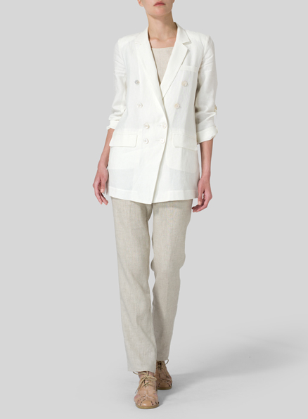 Soft White Linen Double-Breasted Roll Sleeve Jacket