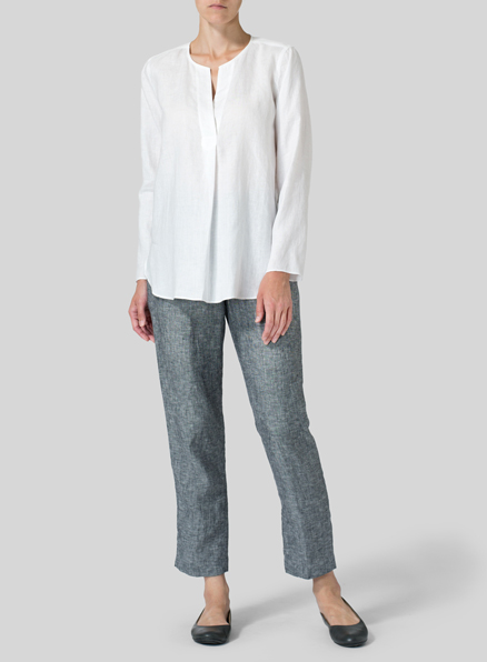 White Linen L/S Relaxed Fit Blouse